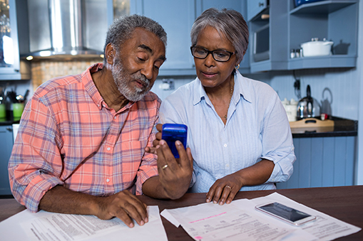 African American older couple insurance